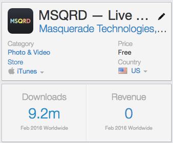 скачивания мобильного приложения MSQRD