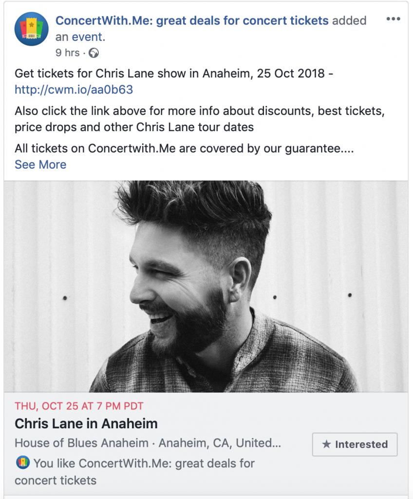 пример продвижения через Facebook events от Concert with me